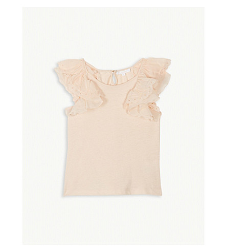 CHLOE Frilled sleeve cotton-blend top 4-14 years (Apricot