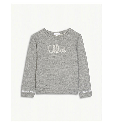 CHLOE Embroidered logo cotton sweatshirt 4-14 years (Grey