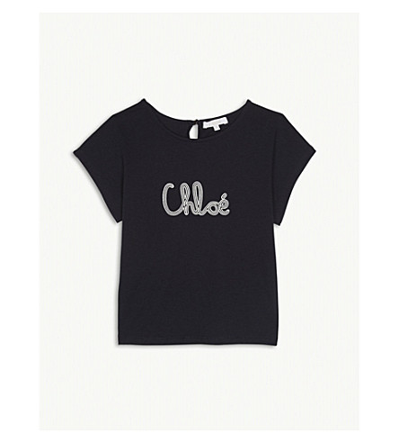 CHLOE Embroidered logo cotton T-shirt 4-14 years (Navy