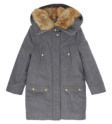 CHLOE Faux fur trim wool coat 4-14 years (Grey