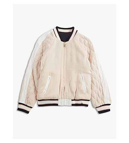 CHLOE Toucan-appliqué reversible satin bomber jacket (Pink