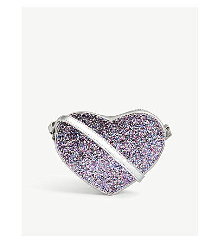 LITTLE MARC Glittered heart leather cross-body bag (Grey
