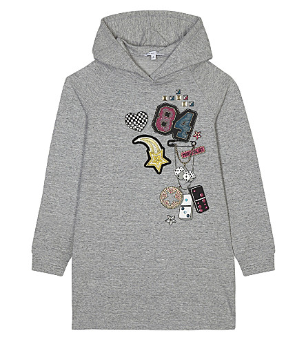 LITTLE MARC Badge cotton-blend hoody dress 4-14 years (Grey