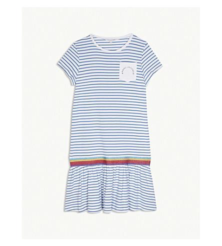 LITTLE MARC Rainbow striped cotton-blend dress 4-14 years (Blue
