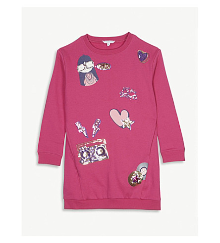 LITTLE MARC Sequin boombox cotton sweatshirt dress 4-14 years (Pink