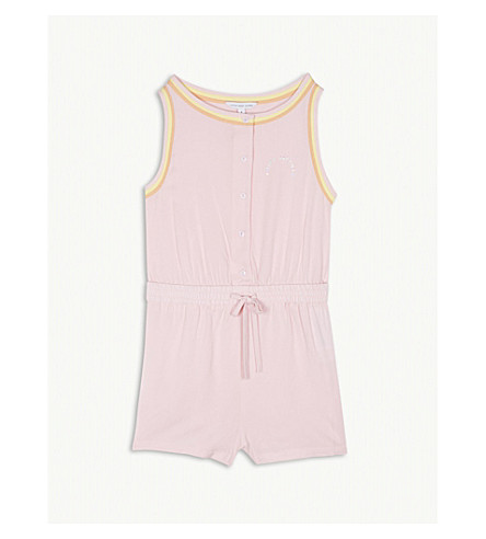 LITTLE MARC Logo sleeveless jersey playsuit 4-14 years (Pink