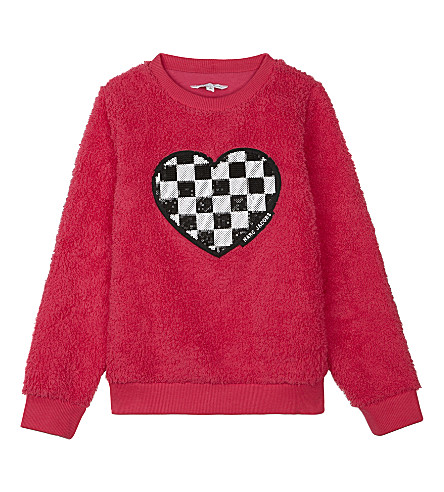 LITTLE MARC Sequin appliquéd heart jumper 4-14 years (Rose+pink