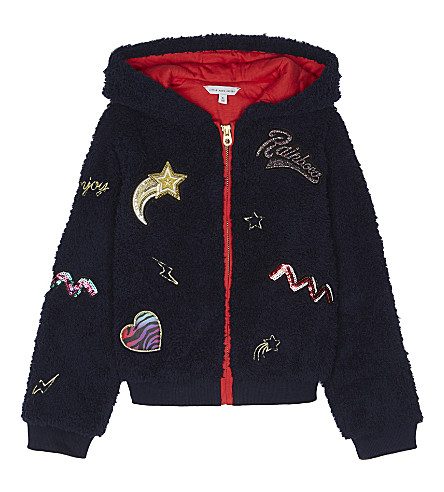 LITTLE MARC Hooded fluffy bomber jacket 4-12 years (Navy