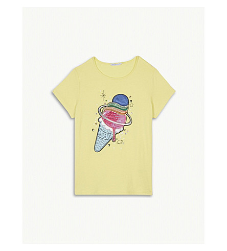 LITTLE MARC Ice cream embellished cotton-blend T-shirt 4-14 years (Yellow