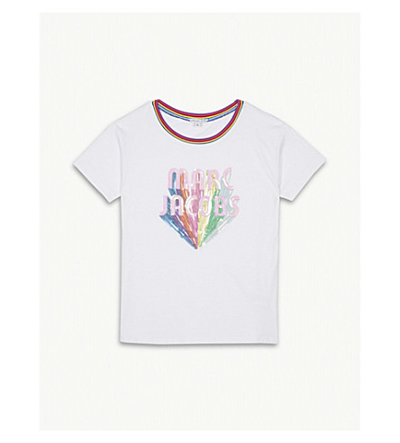 LITTLE MARC Sequinned logo cotton-blend T-shirt 4-14 years (White