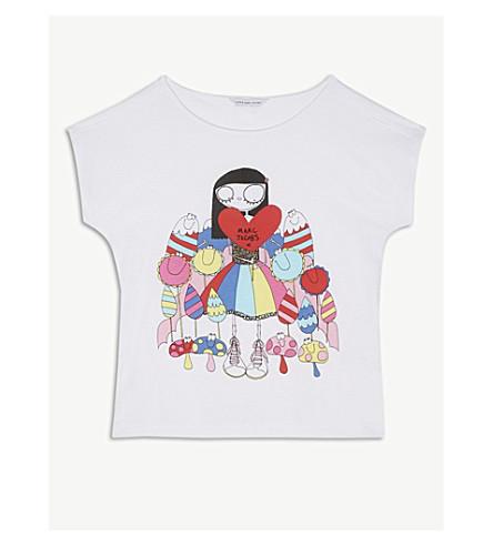 LITTLE MARC Heart print cotton-blend T-shirt 4-14 years (White