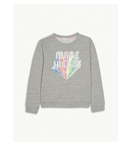 LITTLE MARC Sequin logo cotton sweatshirt 6-14 years (Grey