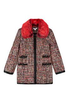 LITTLE MARC Faux fur collar tweed coat 4-12 years