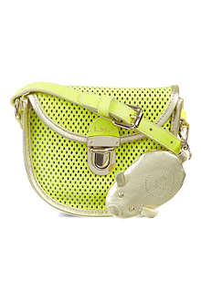 LITTLE MARC Mini perforated leather satchel bag