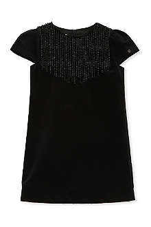 GUCCI Pearl-embroidered velvet dress 4-12 years