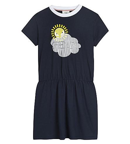 FENDI Sun print gathered cotton dress 4-14 years (F0qa2