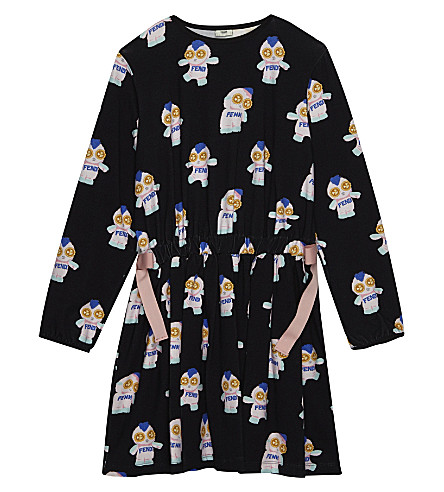 FENDI Monster print gathered jersey dress 4-14 years (Black