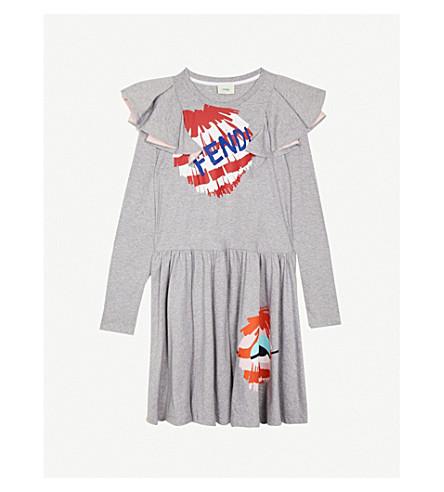 FENDI Fendirumi 平纹针织棉礼服 4-14 岁(灰色