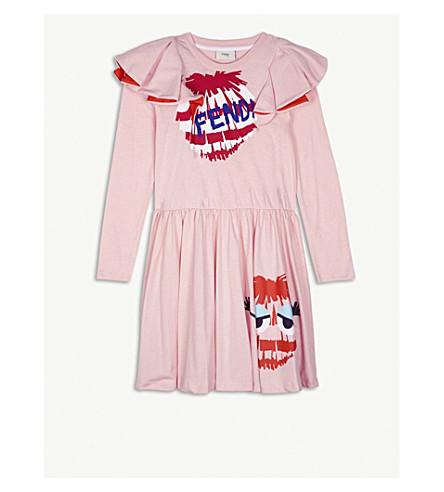 FENDI Fendirumi 平纹针织棉礼服 4-14 岁(粉红色