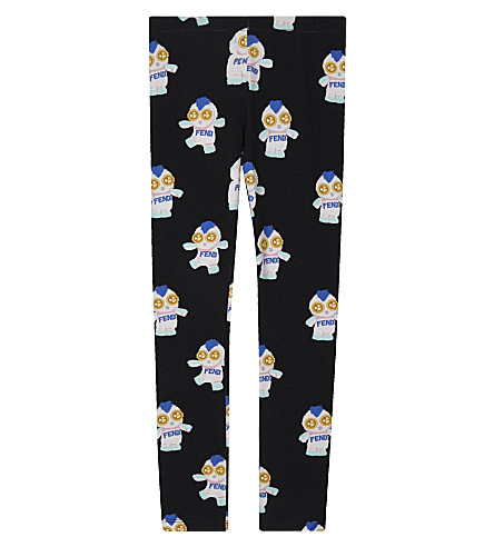 FENDI Printed cotton leggings 4-14 years (Black