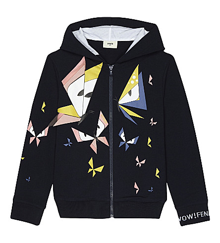 FENDI Monster butterfly print zip-through cotton hoody (F0qa2