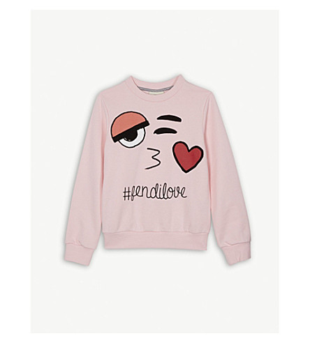 FENDI #fendilove cotton jumper 4-14 years (Pink