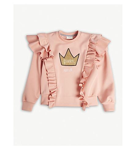 FENDI Crown-embroidered frilled cotton sweatshirt 4-14 years (Pink