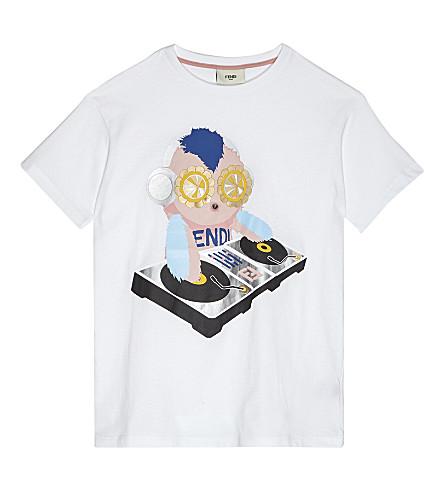 FENDI Cotton monkey DJ print T-Shirt 4-14 years (White