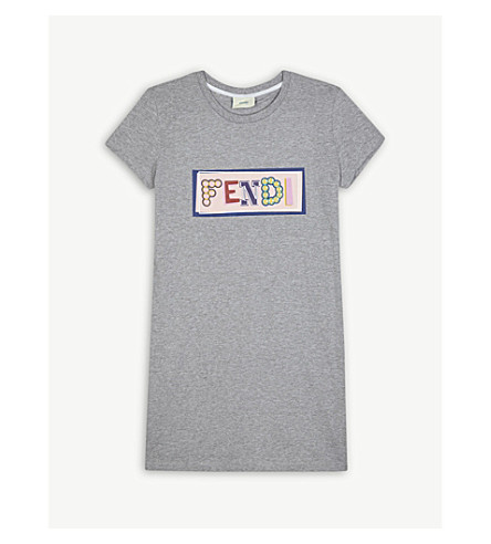 FENDI Logo cotton T-shirt 4-14 years (Grey