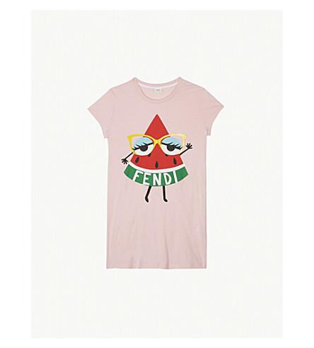 FENDI Watermelon slice print cotton T-shirt 4-14 years (Pink