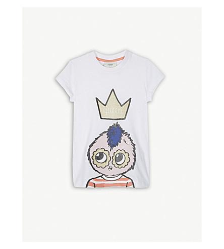 FENDI Rumi crown cotton T-shirt 4-14 years (White