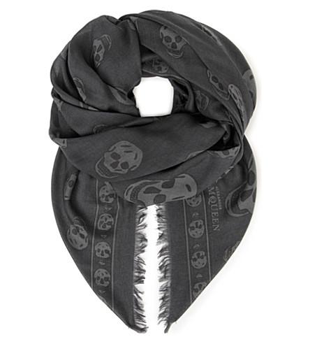 ALEXANDER MCQUEEN Pashmina skull scarf (Flanner/grey
