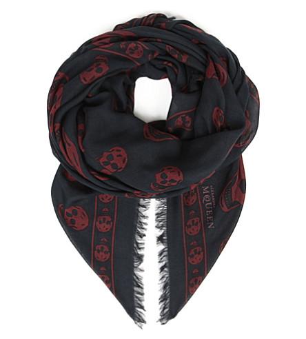 ALEXANDER MCQUEEN Pashmina skull scarf (Midnight blue/red