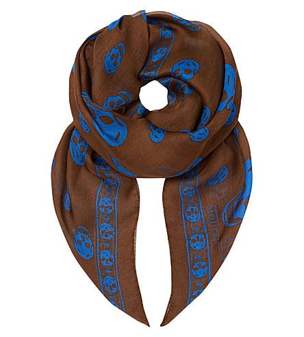 ALEXANDER MCQUEEN Chiffon skull scarf (Dark gold/blue