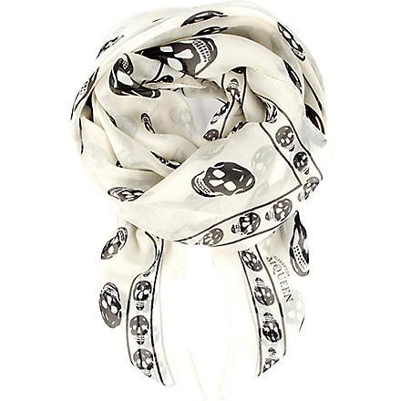 ALEXANDER MCQUEEN Chiffon skull scarf (Ivory