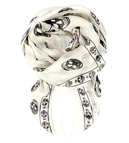 ALEXANDER MCQUEEN Skull-print silk-chiffon scarf (Ivory