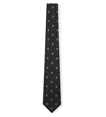 ALEXANDER MCQUEEN Skull polka-dot silk tie (Black/cream