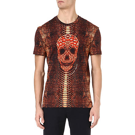 ALEXANDER MCQUEEN Snake and skull-print t-shirt (Red