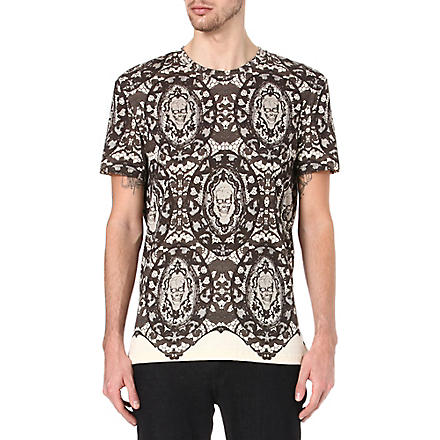ALEXANDER MCQUEEN Lace and skull-print t-shirt (Black