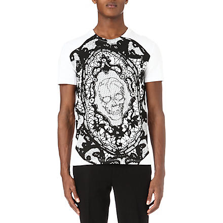 ALEXANDER MCQUEEN Skull and lace print t-shirt (White