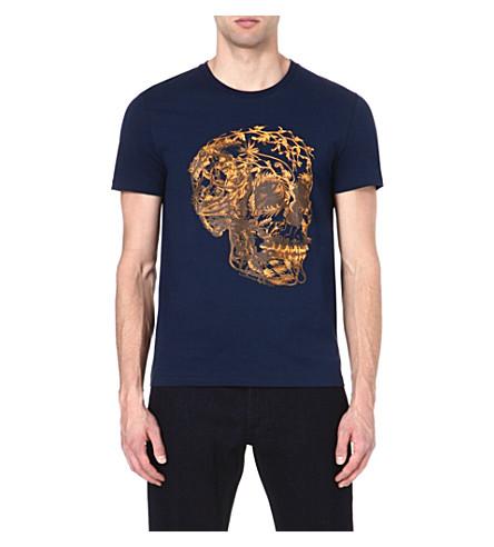 ALEXANDER MCQUEEN Flower Skull t-shirt (Navy/yellow