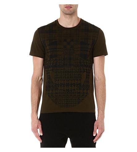 ALEXANDER MCQUEEN Plaid skull t-shirt (Khaki