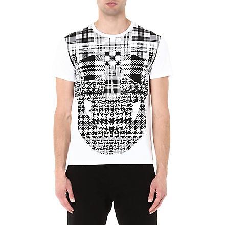 ALEXANDER MCQUEEN Plaid skull t-shirt (White