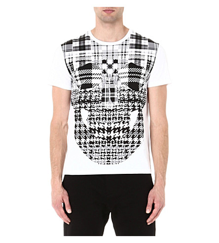 ALEXANDER MCQUEEN Plaid skull t-shirt (White