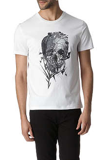 ALEXANDER MCQUEEN Skull and leaf-print t-shirt