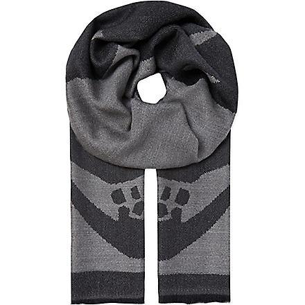 ALEXANDER MCQUEEN Large skull wool scarf (Grey