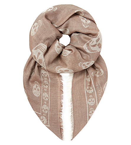 ALEXANDER MCQUEEN Skull border scarf (Beige