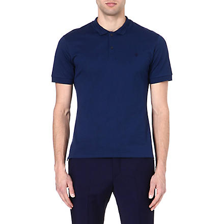 ALEXANDER MCQUEEN Skull-embroidered polo shirt (Blue