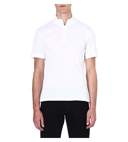 ALEXANDER MCQUEEN Stand-collar polo shirt (White