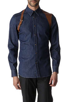 ALEXANDER MCQUEEN Leather harness single cuff denim shirt